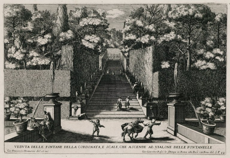 """""""View from the fountain of the steps [Stairs of the bubbling fountains], and the stairs that lead up to the Alley of the hundred fountains"""" (Plate 12), """"View from the fountain of the steps [Stairs of the bubbling fountains], and the stairs that lead up to the Alley of the hundred fountains"""" (Plate 12)"""