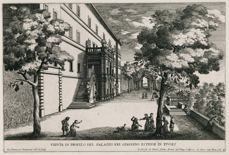 """""""View in profile of the palazzo in the extensive gardens in Tivoli"""" (Plate 5), """"View in profile of the palazzo in the extensive gardens in Tivoli"""" (Plate 5)"""