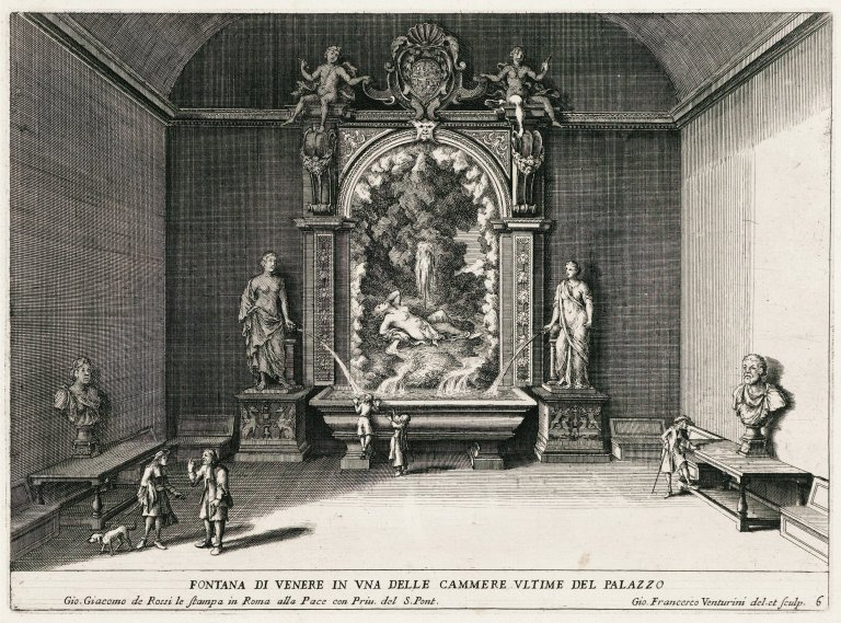"""""""Fountain of Venus in one of the last rooms of the palace"""" (Plate 6), """"Fountain of Venus in one of the last rooms of the palace"""" (Plate 6)"""