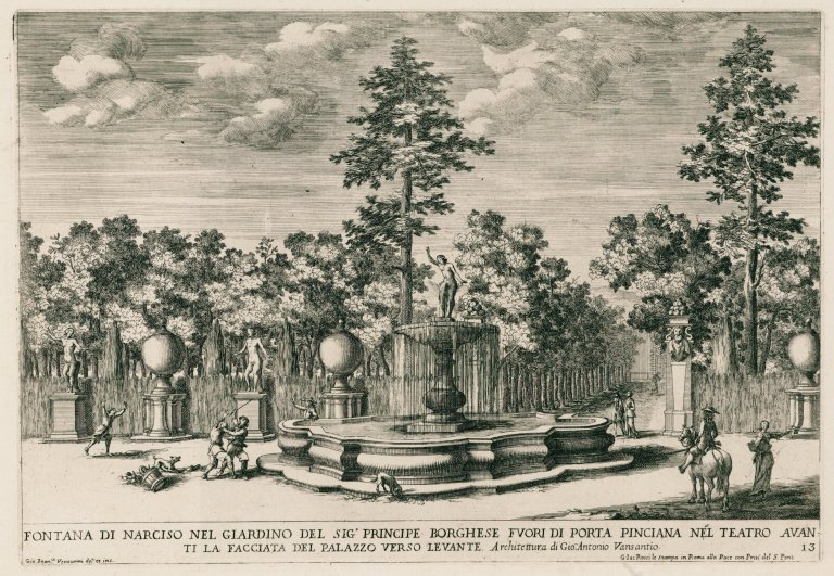 """""""Fountain of Narcissus in the garden of the Borghese prince [Villa Borghese]"""" (Fig. 13), """"Fountain of Narcissus in the garden of the Borghese prince [Villa Borghese]"""" (Fig. 13)"""