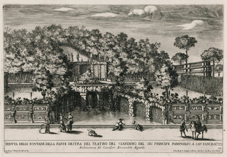 """""""View of the right part of the theater in the garden of the Pamphili prince"""" (Fig. 21), """"View of the right part of the theater in the garden of the Pamphili prince"""" (Fig. 21)"""