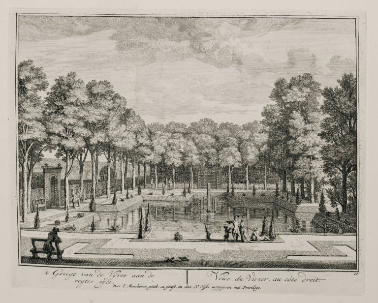 """View of the fish pond from the right side"" (Plate 10), ""View of the fish pond from the right side"" (Plate 10)"