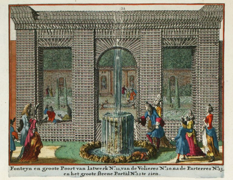 """Fountain in the latticework gate [next to the parterre garden]"", ""Fountain in the latticework gate [next to the parterre garden]"""