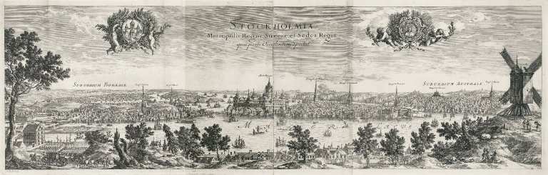 """Stockholm, metropolis and seat of the kingdom of Sweden seen from the west"", ""Stockholm, metropolis and seat of the kingdom of Sweden seen from the west"""